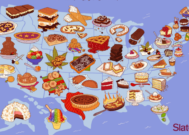 United Sweets of America map: A dessert for every state in the country.