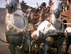The great chariot race from William Wyler's 1959 film adaptation of Ben-Hur, with Charlton Heston in the title role.