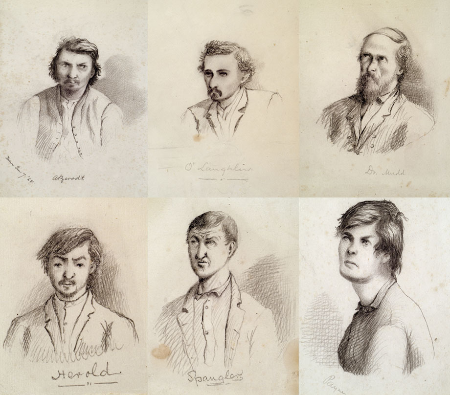 Wallace's sketches (clockwise from L-R) of George A. Atzerodt, Michael O'Laughlin, Dr. Samuel Mudd, Lewis (Payne) Powell, Edman Spangler and David E. Herold.