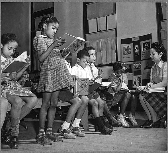 Reading lesson in African American elementary school in Washington, D.C., 1942.