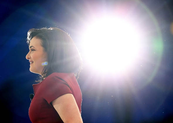 Facebook COO Sheryl Sandberg looks on before speaking at the 2013 Dreamforce conference on November 20, 2013 in San Francisco, California.