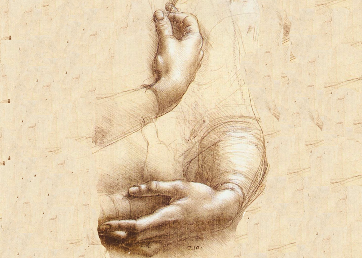 Study of hands by Leonardo da Vinci circa 1474.