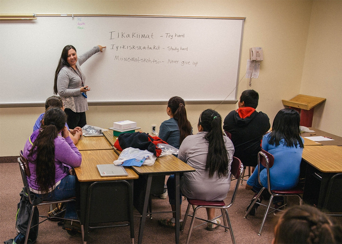 the blackfeet tribe needs more teachers so it s letting them lona running wolf 6th grade teacher at napi elementary teaching a blackfeet language class