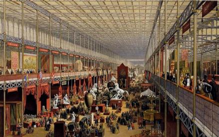 The interior of the Crystal Palace in London during the Great Exhibition of 1851.