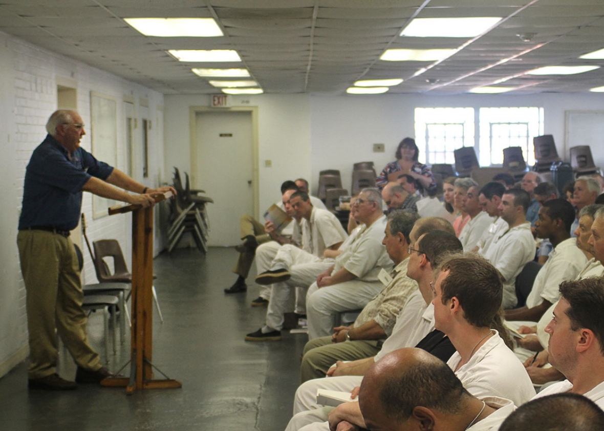 John Sage speaking to Jester I graduating prisoners in June 2014