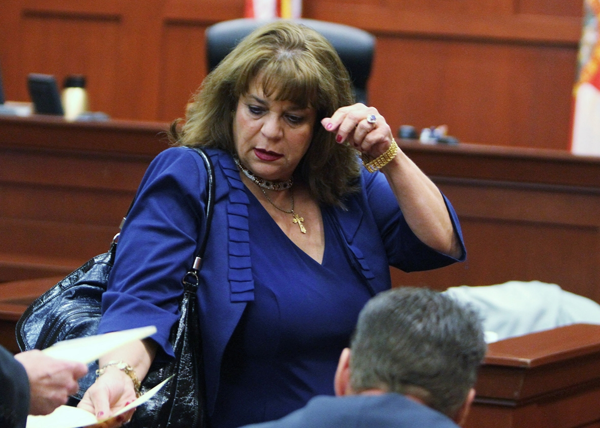 Prosecutor Angela Corey stands in the courtroom during George Zimmerman's bond hearing on April 20, 2012 in Sanford, Florida.