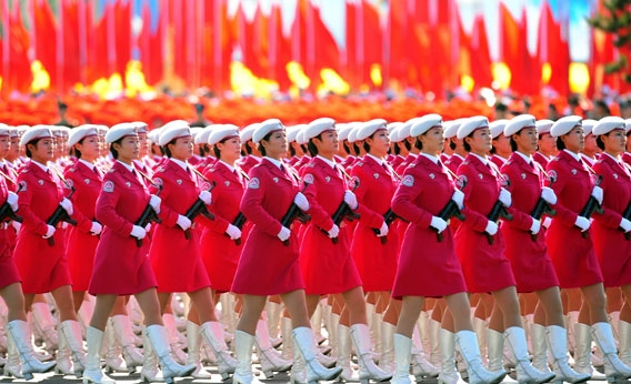 Chinese women militia march past Tiananmen