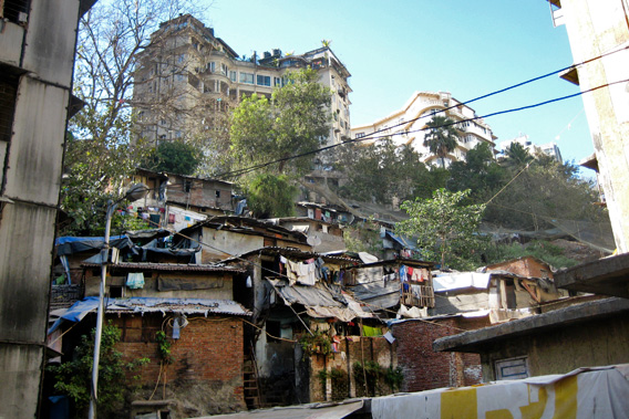 Slum and luxury apartments in Mumbai, India.