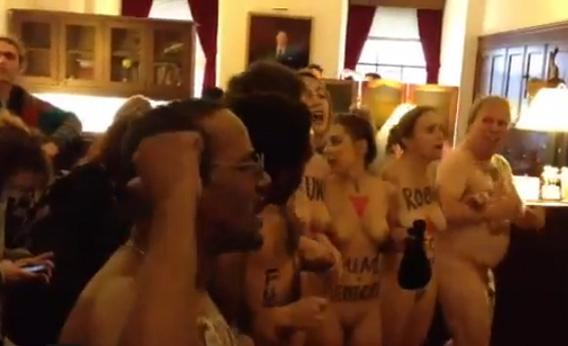 Naked protest inside Speaker of the House Rep.John Boehner's office.