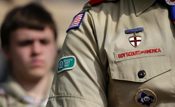The Boy Scouts uniform fashioned with an Quality patch is on the arm of Brad Hankins, a campaign director for Scouts for Equality.