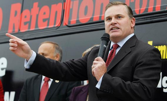 Brian Brown, of the National Organization for Marriage, speaks during a rally before a bus tour through the state to convince voters to remove three state Supreme Court justices who joined in a unanimous ruling legalizing same-sex marriages, Monday, Oct. 25, 2010, in Des Moines, Iowa.