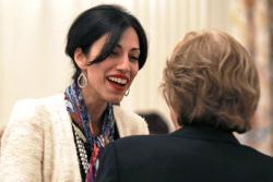 Huma Abedin (L), aide of U.S. Secretary of State Hillary Clinton and wife of former Rep. Anthony Weiner.