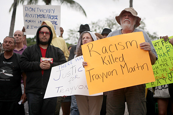 Demonstrators react to George Zimmerman's acquittal, Miami Florida.