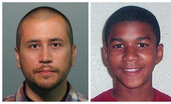Headshots of neighborhood watch volunteer George  Zimmerman (R) who has been charged with second-degree murder of unarmed b