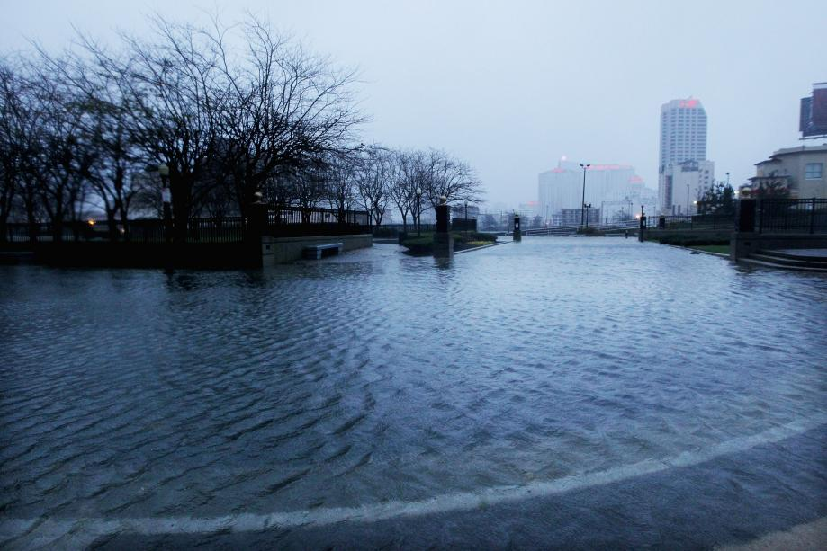 Flood waters begin to flood a street near the ocean ahead of Hurricane Sandy on Monday in Atlantic City, New Jersey.