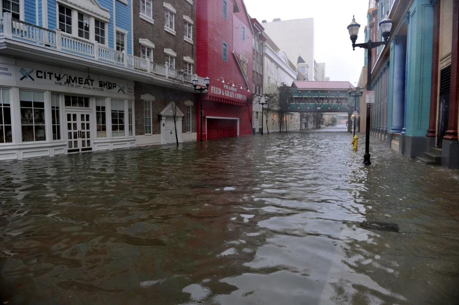 A flooded street between two casinos along the Boardwalk before the arrival of Hurricane Sandy on Monday in Atlantic City, New Jersey.