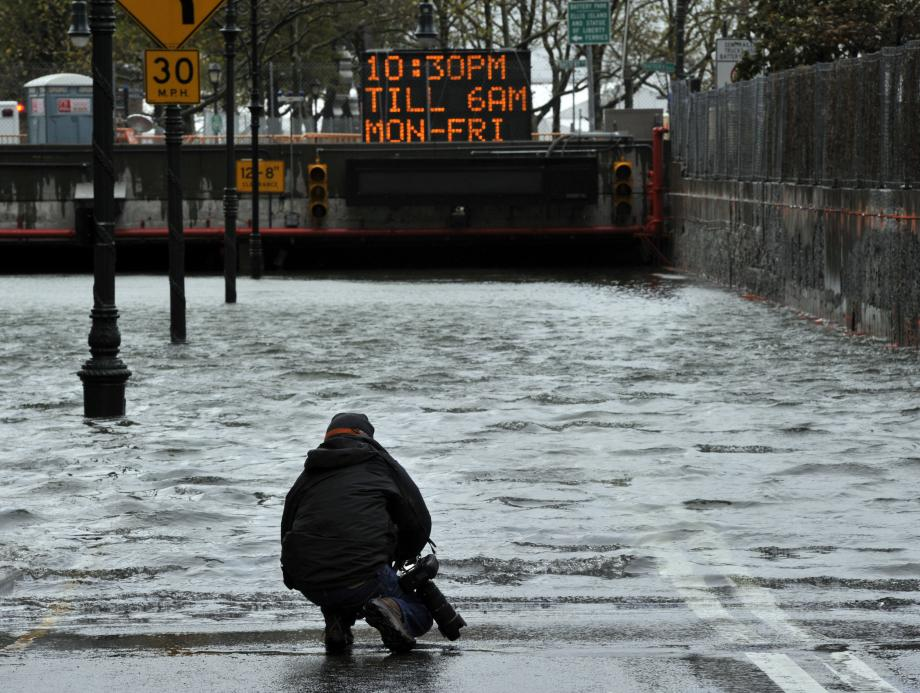 A flooded Brooklyn Battery park Tunnel October 30, 2012 as New Yorkers clean up the morning after Hurricane Sandy's landfall.