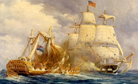 Anton Otto painting depicting the first victory at sea by USS Constitution over HMS Guerriere.