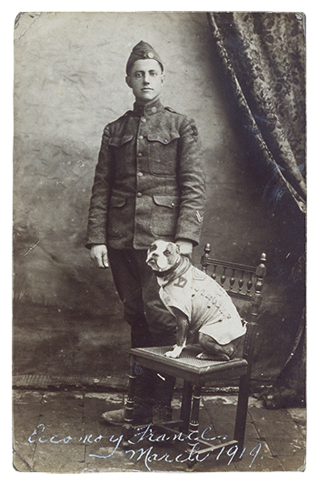 "Photograph of ""Stubby"" and J. Robert Conroy. France, March, 1919."