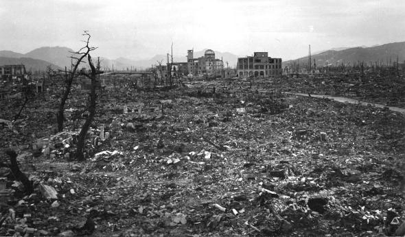 The destruction in Hiroshima after the US dropped an atomic bomb
