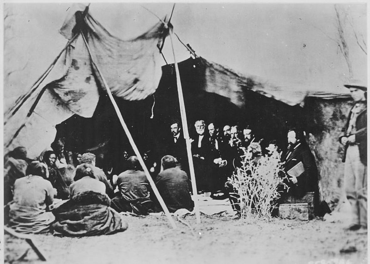 9897408435d Gen. William T. Sherman negotiating with Sioux leadership in 1868.