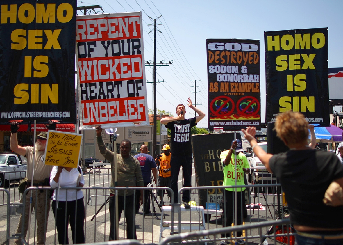 first amendment defense act congress would protect discrimination anti gay christian protesters preach and hold banners at the la pride parade on