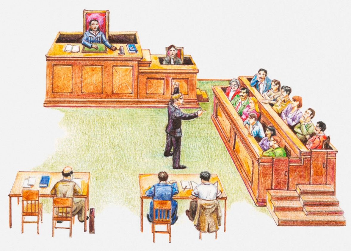 courtroom drawing.