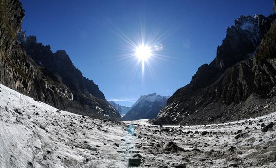 "The ""Mer de Glace"", France longest glacier."