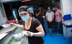 During the outbreak of the H1N1 virus in Mexico City, many restaurant workers came to work in protective masks to stop the spreading of the virus.