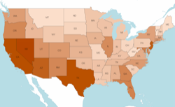 Map: Illegal immigrant potion by state. on political prisoners in usa, environment in usa, illegal alcohol in usa, illegal irish in usa, obama in usa, nigerians in usa, illegal weapons in usa, zimbabweans in usa, health care in usa, canadians in usa, india in usa, neo nazis in usa, elections in usa, protesters in usa, abortions in the usa, illegal animals in usa, sanctuary cities in usa, trafficking in usa, australians in usa,