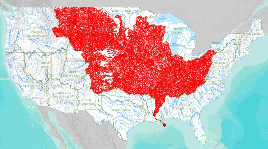 Chart Tributaries Of The Mississippi River - Map of the us mississippi river