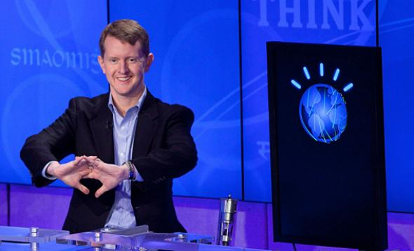 Contestant Ken Jennings competes against 'Watson'.
