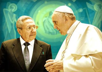 President of Cuba Raul Castro and Pope Francis.