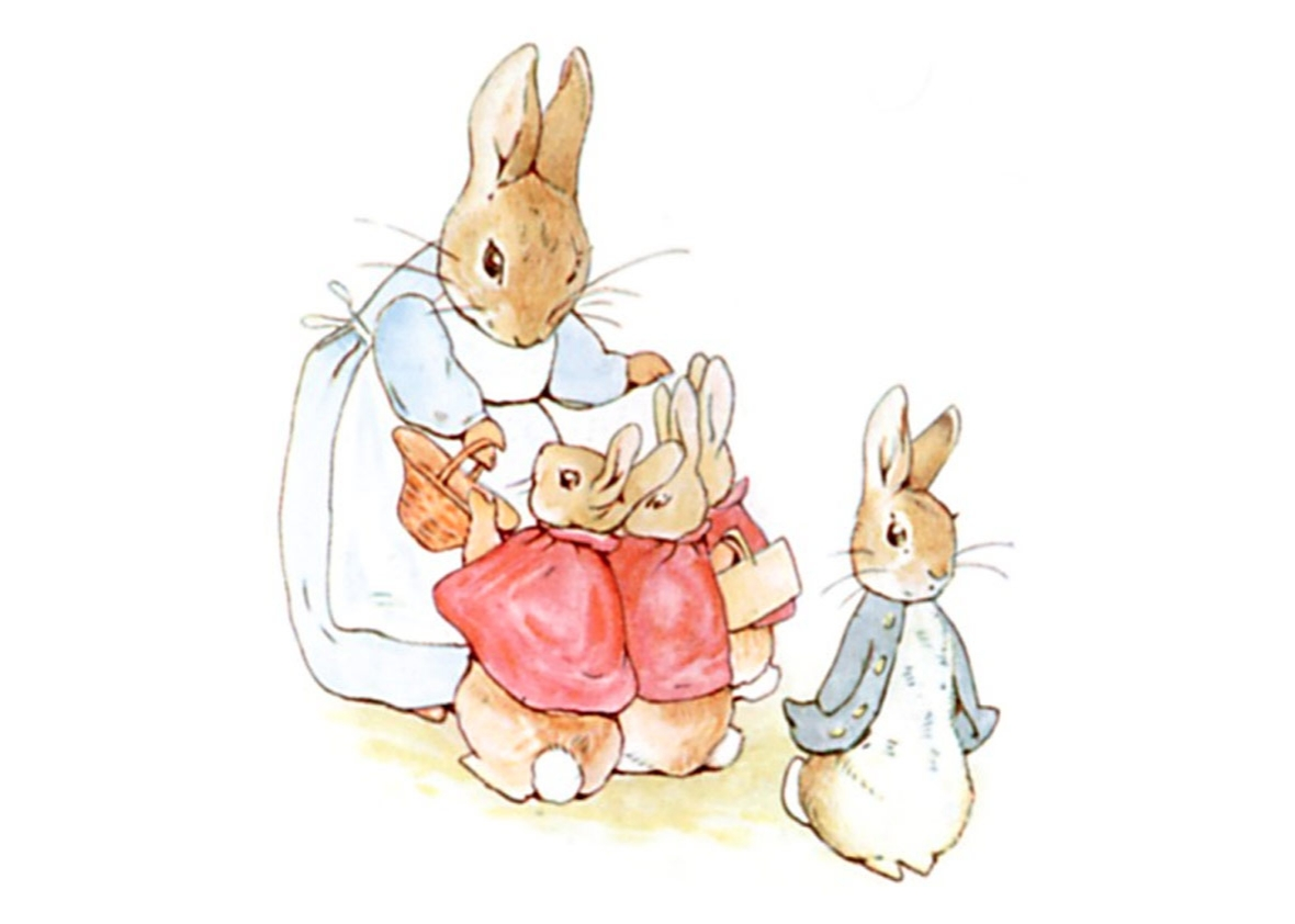 Peter Rabbit with his family, from The Tale of Peter Rabbit by Beatrix Potter, 1902