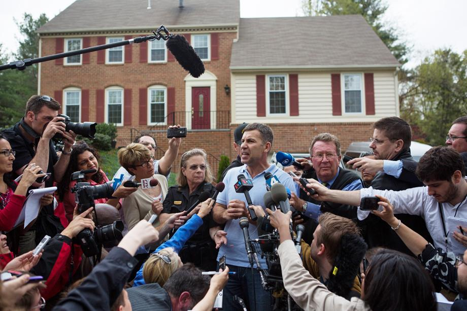 Ruslan Tsarni, uncle of the suspected Boston Marathon bombing suspects, speaks to reporters in front of his home April 19, 2013 in Montgomery Village, Maryland.