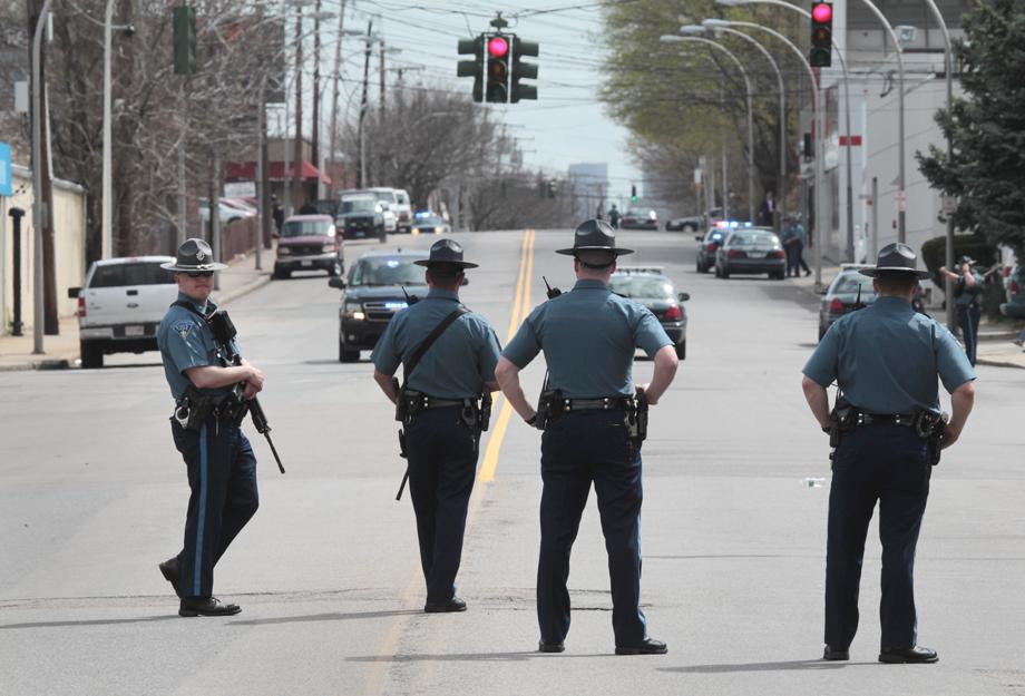 State Police on a closed off Arsenal Street during the ongoing manhunt for a suspect in the terrorist bombing of the 117th Boston Marathon earlier this week.