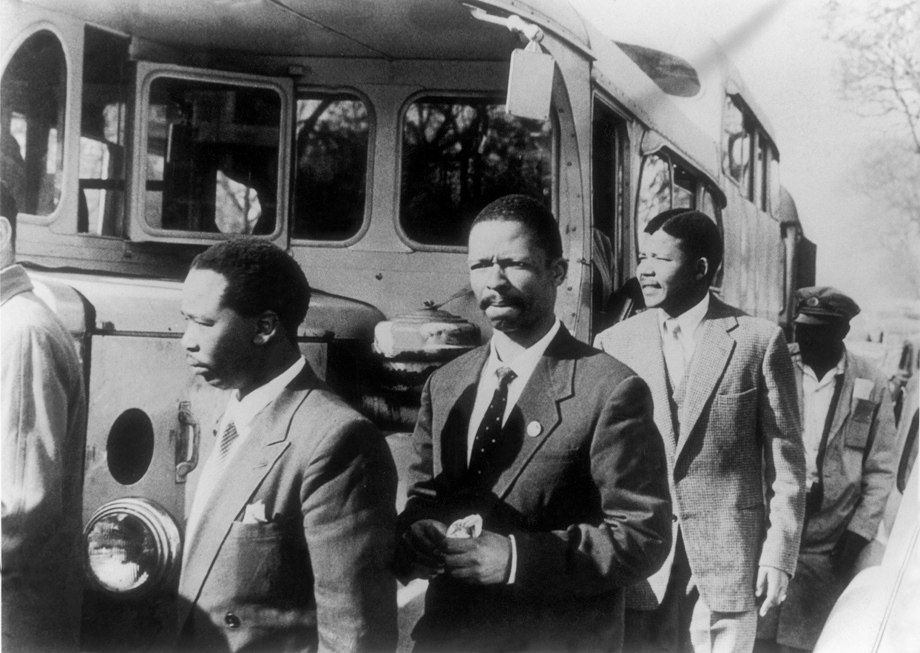 Nelson Mandela (Second From Right), Leader Of The African National Congress (Anc) And Other Militants Charged With Treason By The South-African Union Walked To The Room Where Their Trial Was Being Held In 1956.