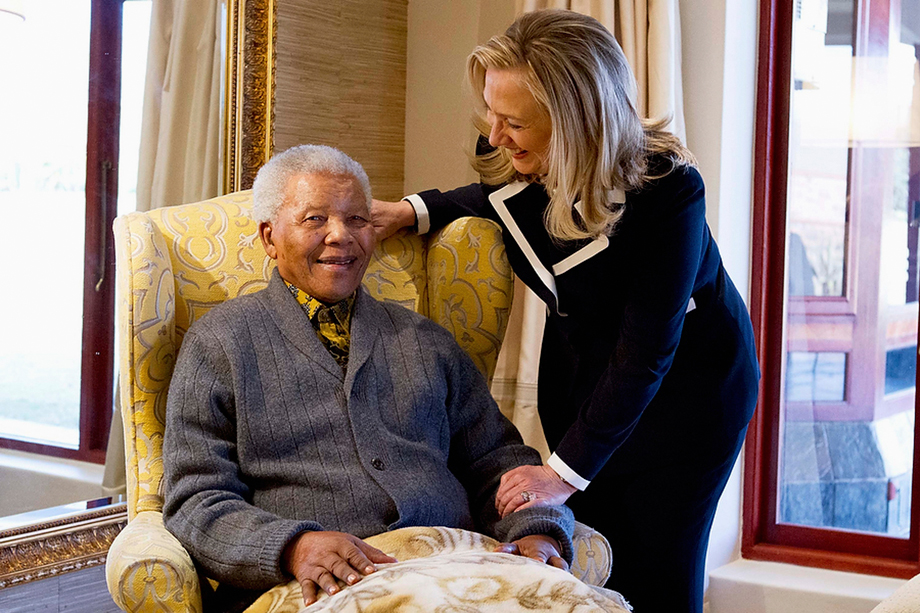U.S. Secretary of State Hillary Clinton meets with Nelson Mandela, 94, former president of South Africa, at his home in Qunu, South Africa, August 6, 2012.