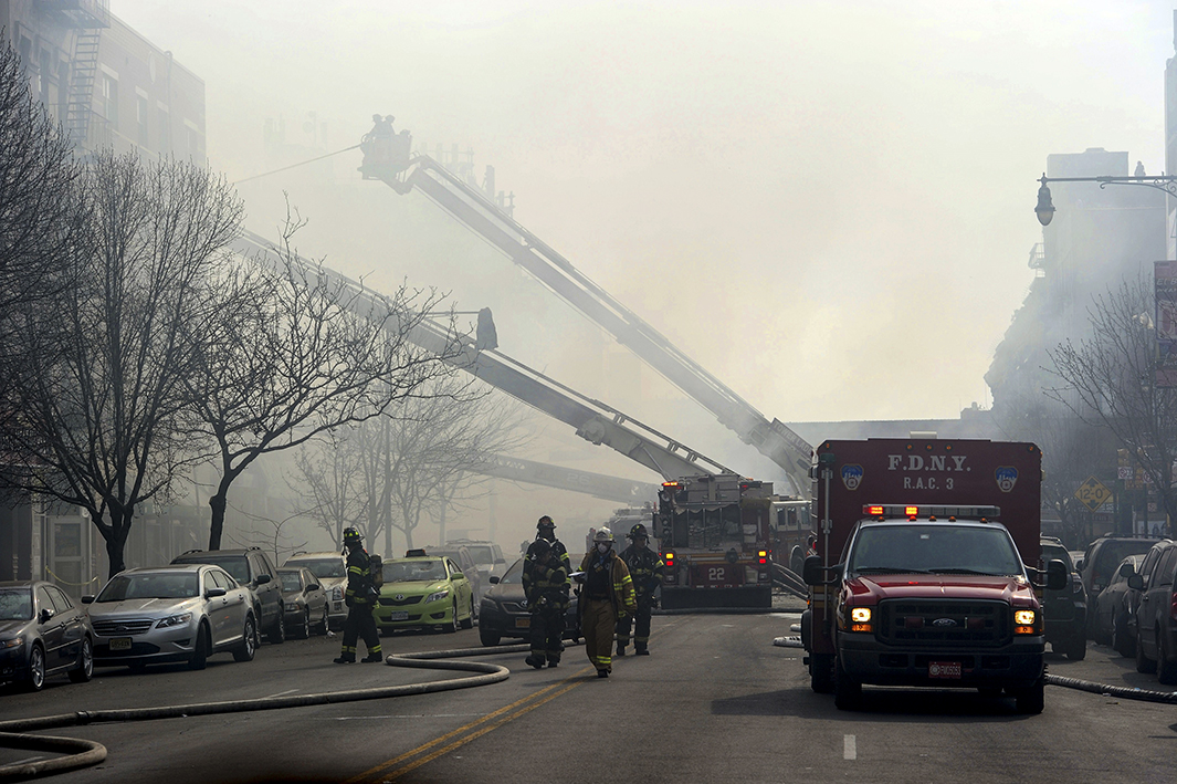 The area around the explosion was engulfed in a thick smoke, and a stretch of Park Avenue, as well as the east side of 115th to 117th streets, was closed.