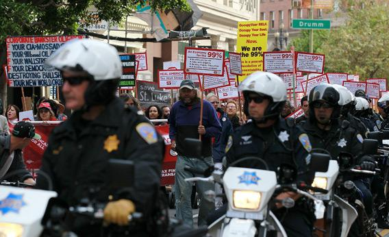 Occupy Wall Street protestors and police.
