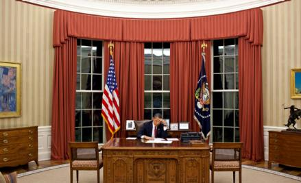 President Obama edits his remarks in the Oval Office prior to making a televised statement detailing the mission against Osama bin Laden in May 2011.