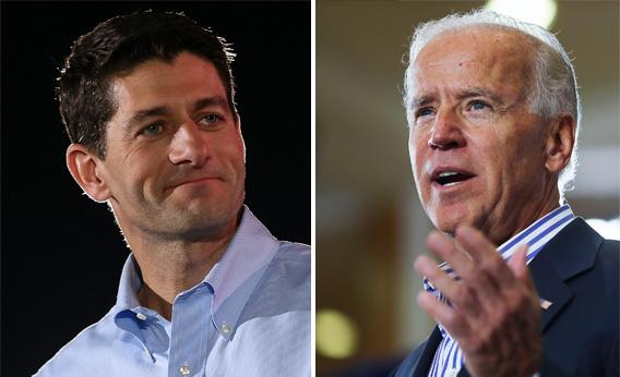 Rep. Paul Ryan, left, (R-WI) speaks during a campaign rally on October 4, 2012 in Fishersville, Virginia. Joe Biden.