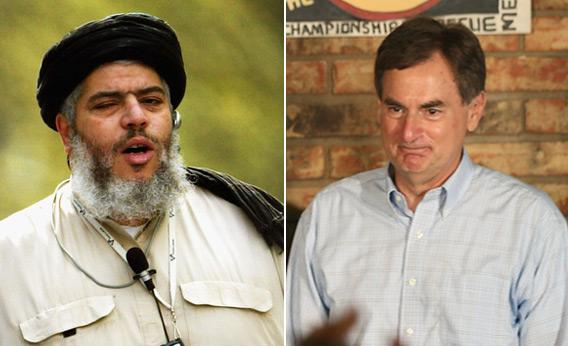 Muslim Cleric Abu Hamza and U.S. Senate Candidate Richard Mourdock.