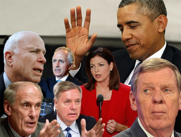 Clockwise, from left to right: Senator John McCain (R-AZ), Senator Bob Corker (R-TN), Senator Kelly Ayotte (R-NH), President Barack Obama, Senator Johnny Isakson, Sen. Lindsey Graham, R-S.C., and Joint Economic Committee member Sen. Dan Coats (R-IN).