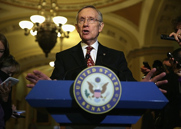 U.S. Senate Majority Leader Senator Harry Reid (D-NV) speaks to members of the media.