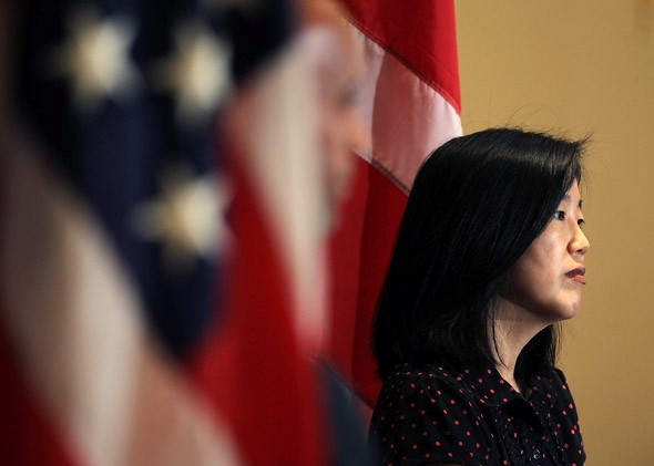 Michelle Rhee listens during a news conference in October 2010 in Washington, DC.