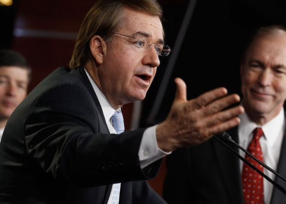 Rep. Ed Royce (R-CA (C) speaks during a news conference to introduce a GOP-sponsored Fannie Mae and Freddie Mac.