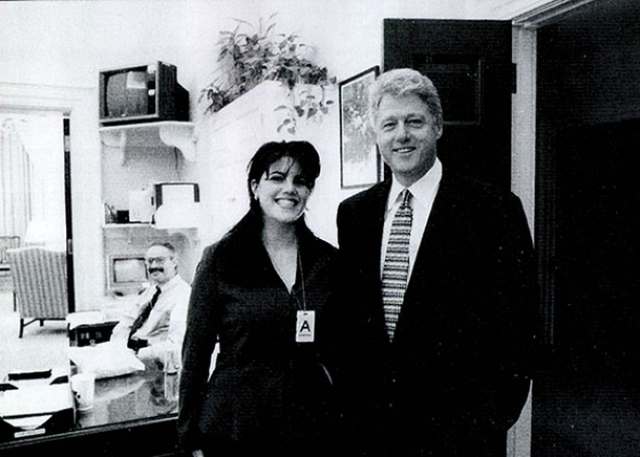 White House intern Monica Lewinsky meeting President Bill Clinton.