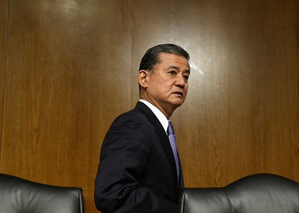 Veterans Affairs Secretary Eric Shinseki after testifying to the Senate Veterans' Affairs Committee on May 15, 2014, about wait times veterans face to get medical care.
