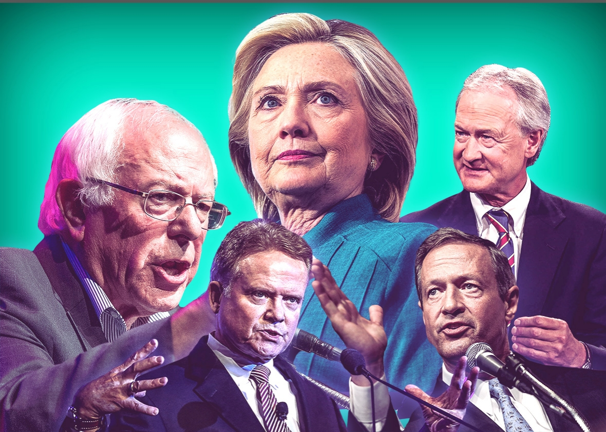Democratic presidential candidates Bernie Sanders, Jim Webb, Hillary Clinton, Martin O'Malley, and Lincoln Chafee.